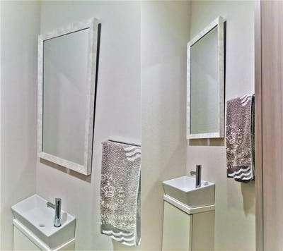 洗面所の鏡に モダンミラーシリーズ「38-3026」を使用した事例 (東京都 A様)