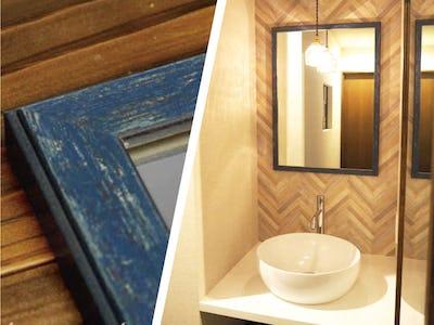 オシャレな洗面台にぴったり!別荘の洗面台にオールドミラーシリーズ「B-10167」を使用した事例(長野県M様)