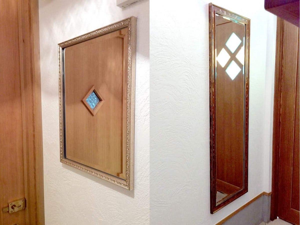 トイレと玄関に設置されたアンティークミラー