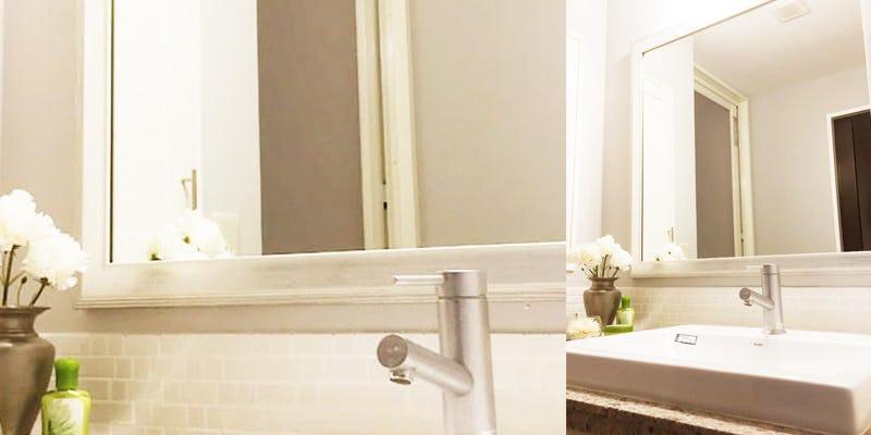 洗面所のリフォームに「アンティークミラー」を設置した事例 (神奈川県横浜市 C様)